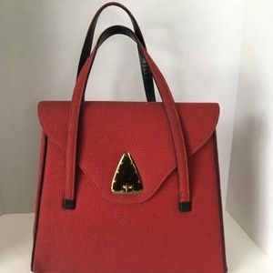 National Bags - Art Deco Handbag National Canadian Made Red Canvas